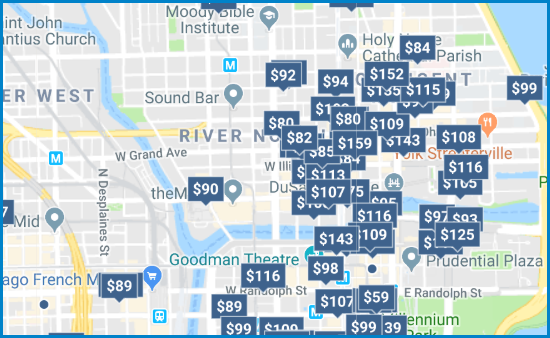 a Google map of hotel prices in Chicago