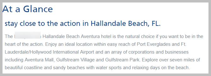 hallandale hotel introduction copy bad example of unique value proposition
