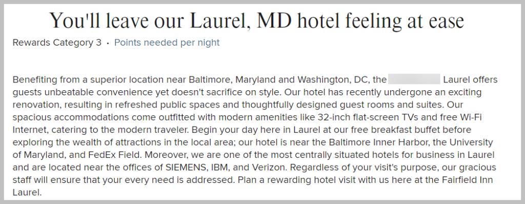 laurel hotel intro text example for unique value propositions