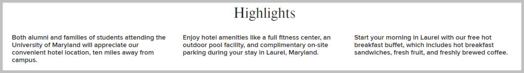 laurel hotel highlights uvp