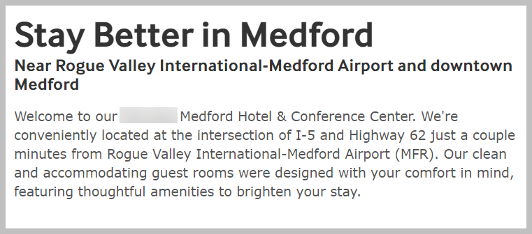 medford hotel introduction copy bad UVP example