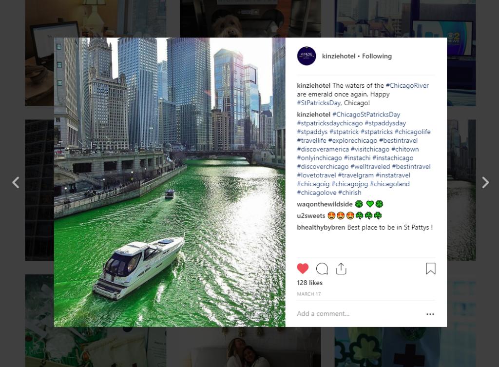 instagram chicago river st. patrick's day