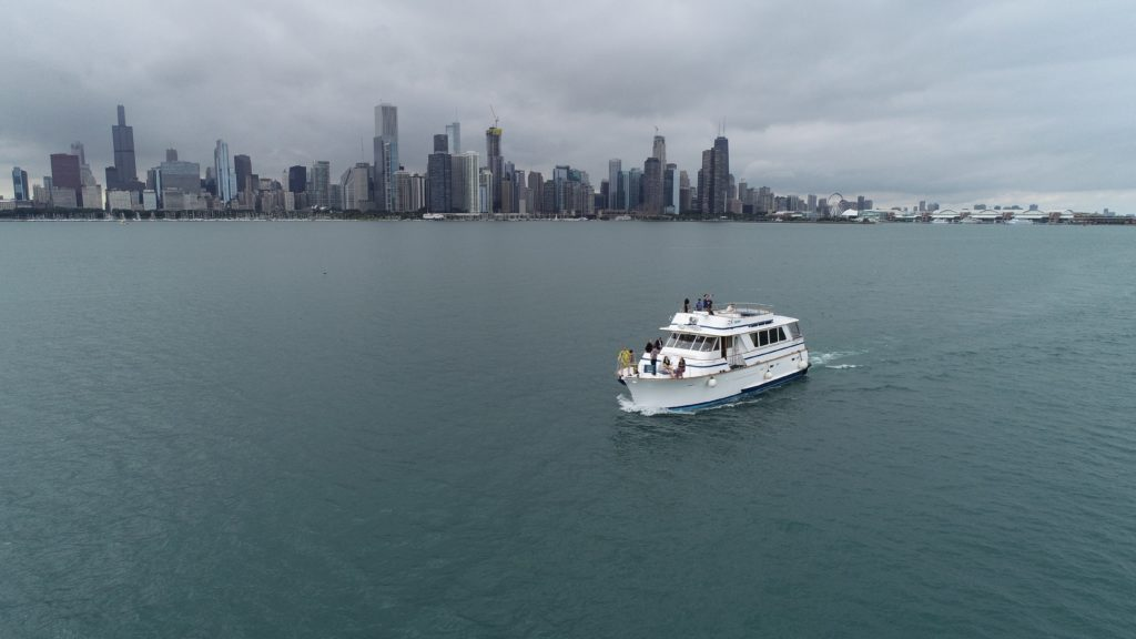 Drone view of Boat Cruise with Chicago skyline