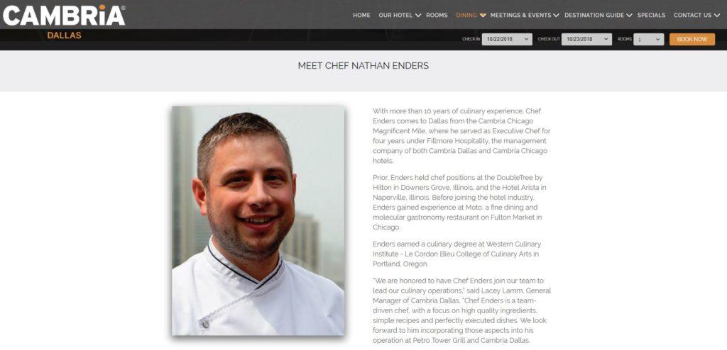 Cambria Dallas Chef Page