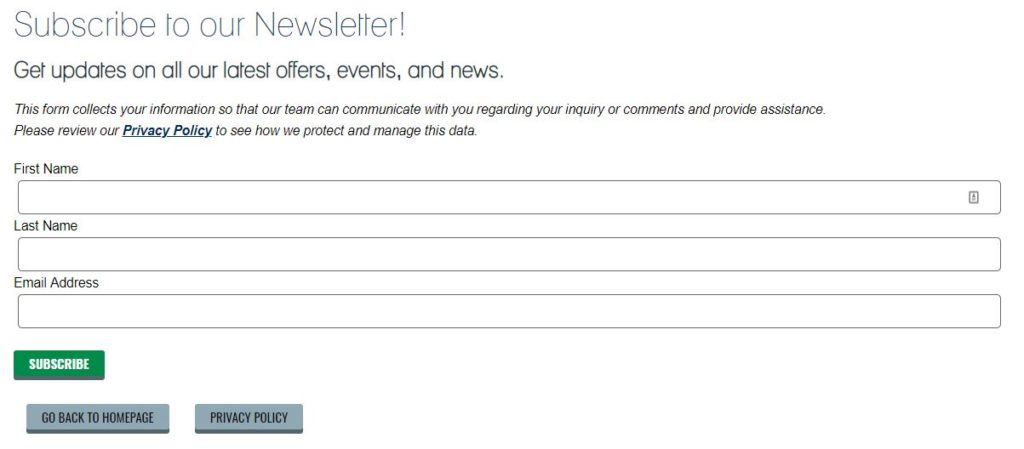 Newsletter Form Fields