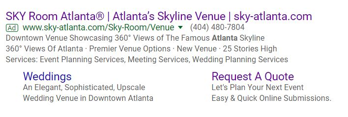 SKY Room Search Ad Example