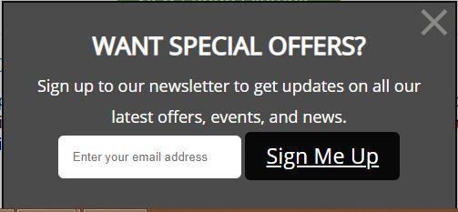 newsletter sign up pop up