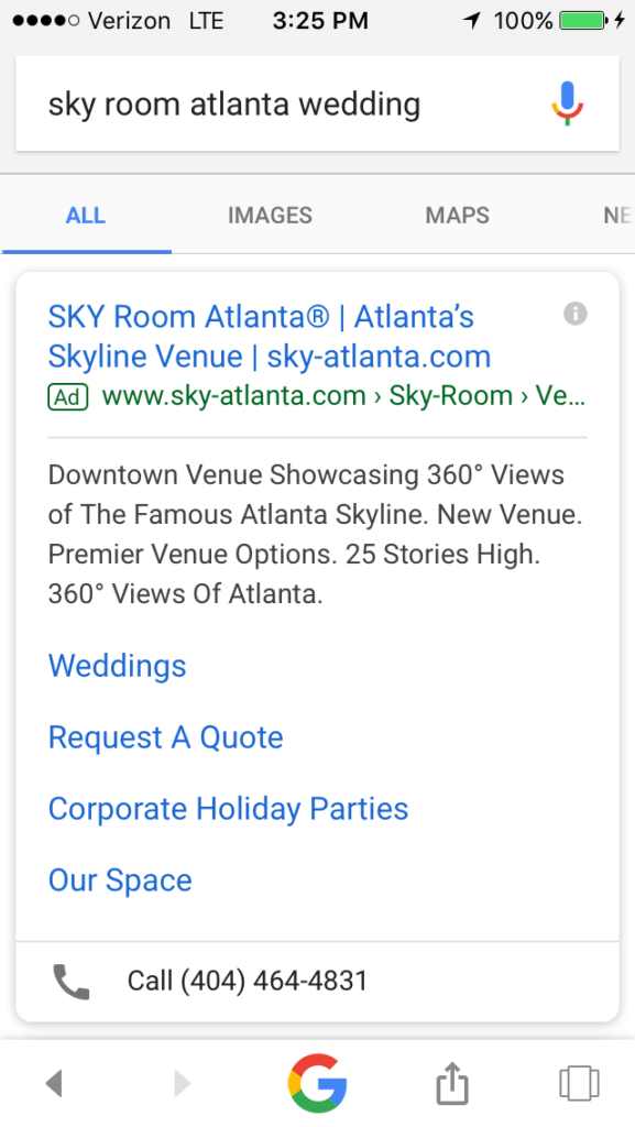 SKY Room Mobile Ad Example]