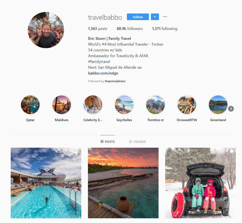 social media influencer instagram travelbabbo