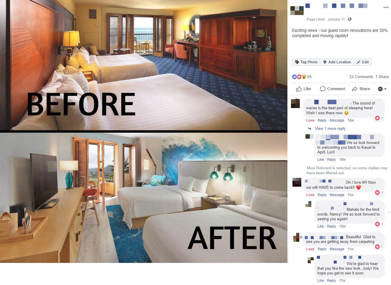 facebook before after hotel marriott social media