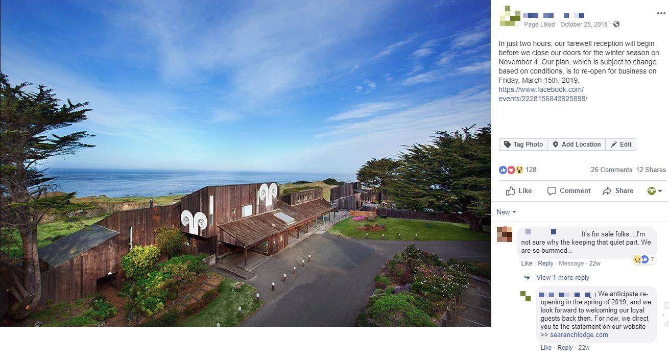 facebook farewell closing hotel lodging social media