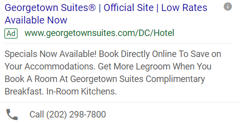 New Georgetown Suites Ad