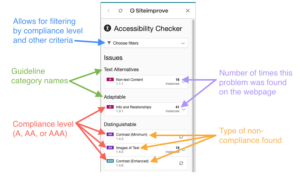Screenshot of Siteimprove Accessibility Checker with explanation