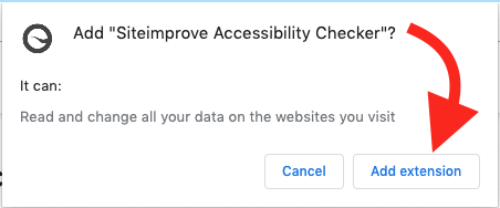 Screenshot of Add Extension button for Siteimprove Accessibility Checker