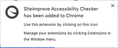 Screenshot of Siteimprove Accessibility Checker confirmation window