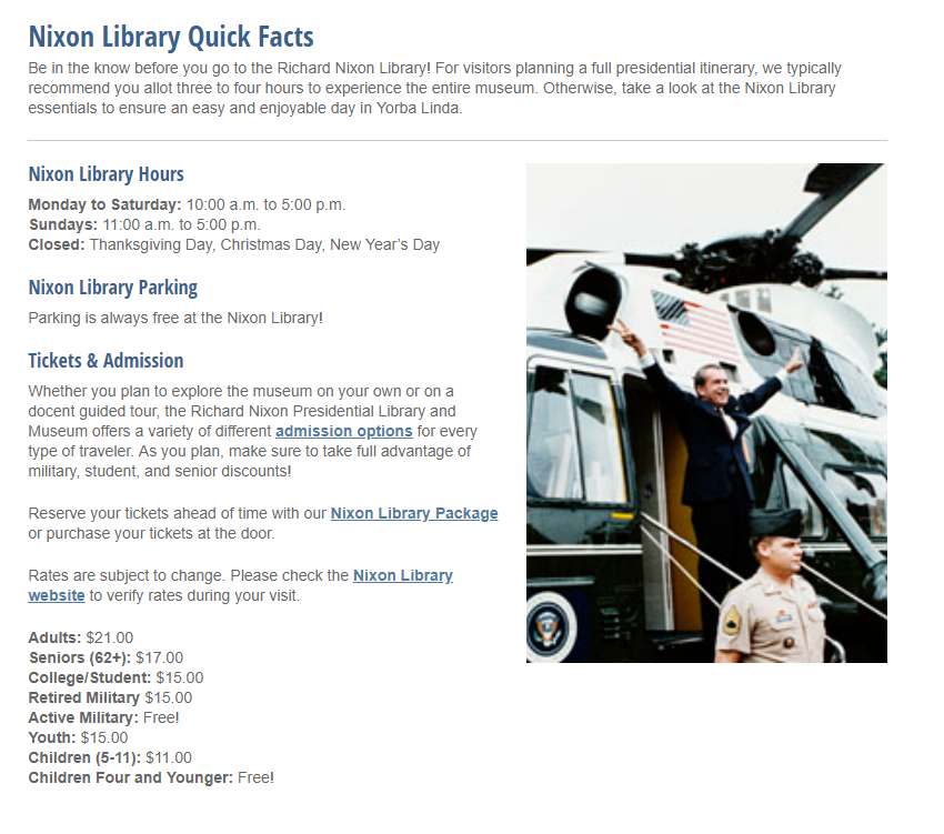 richard nixon library webpage screenshot