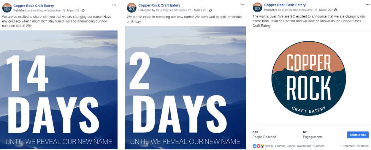 Copper Rock Craft Eatery Social Announcement
