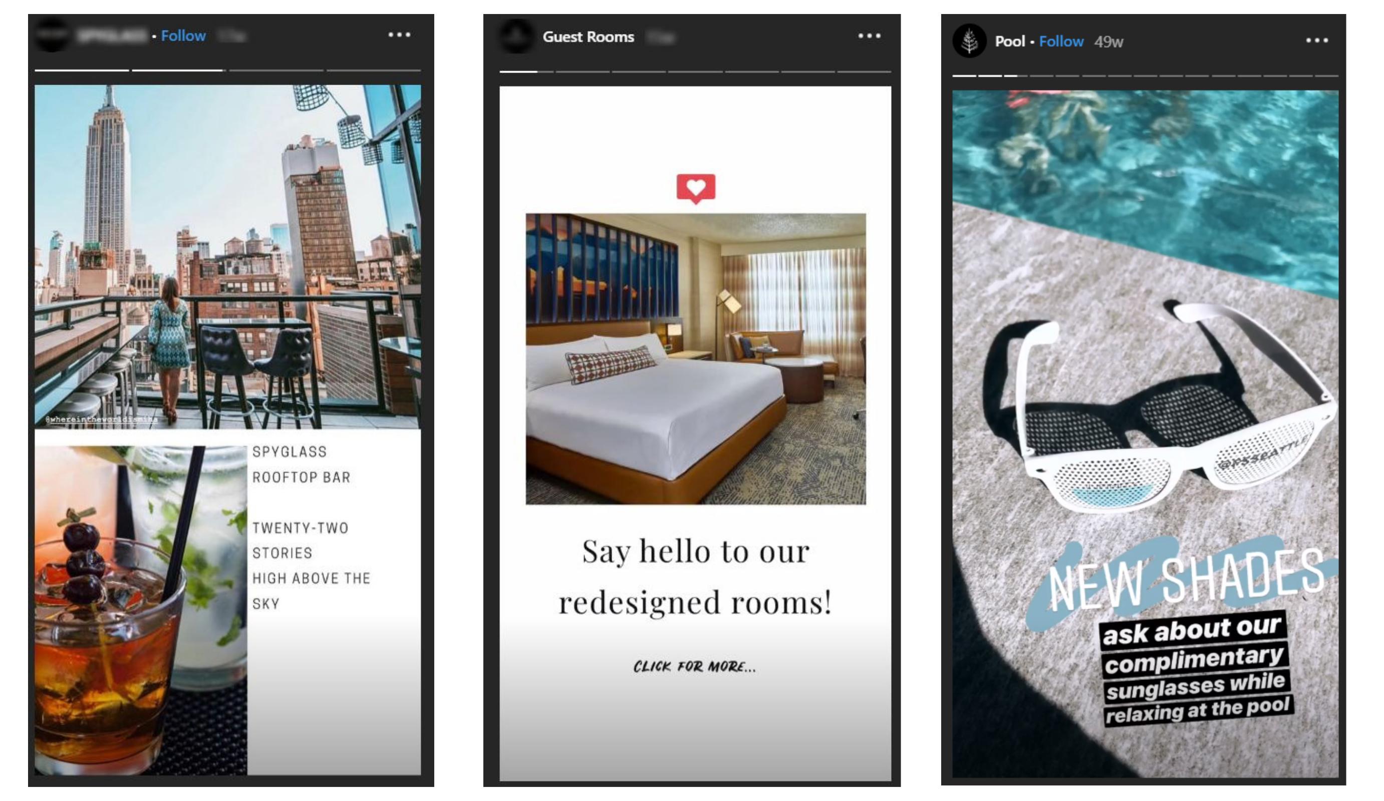 hotel examples branding instagram stories