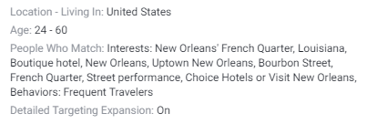 facebook new orleans hotel ad targeting