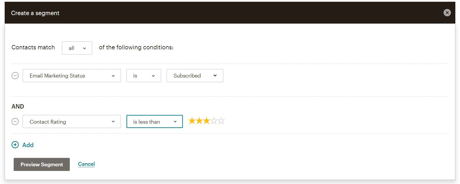MailChimp segment filtered by contact rating