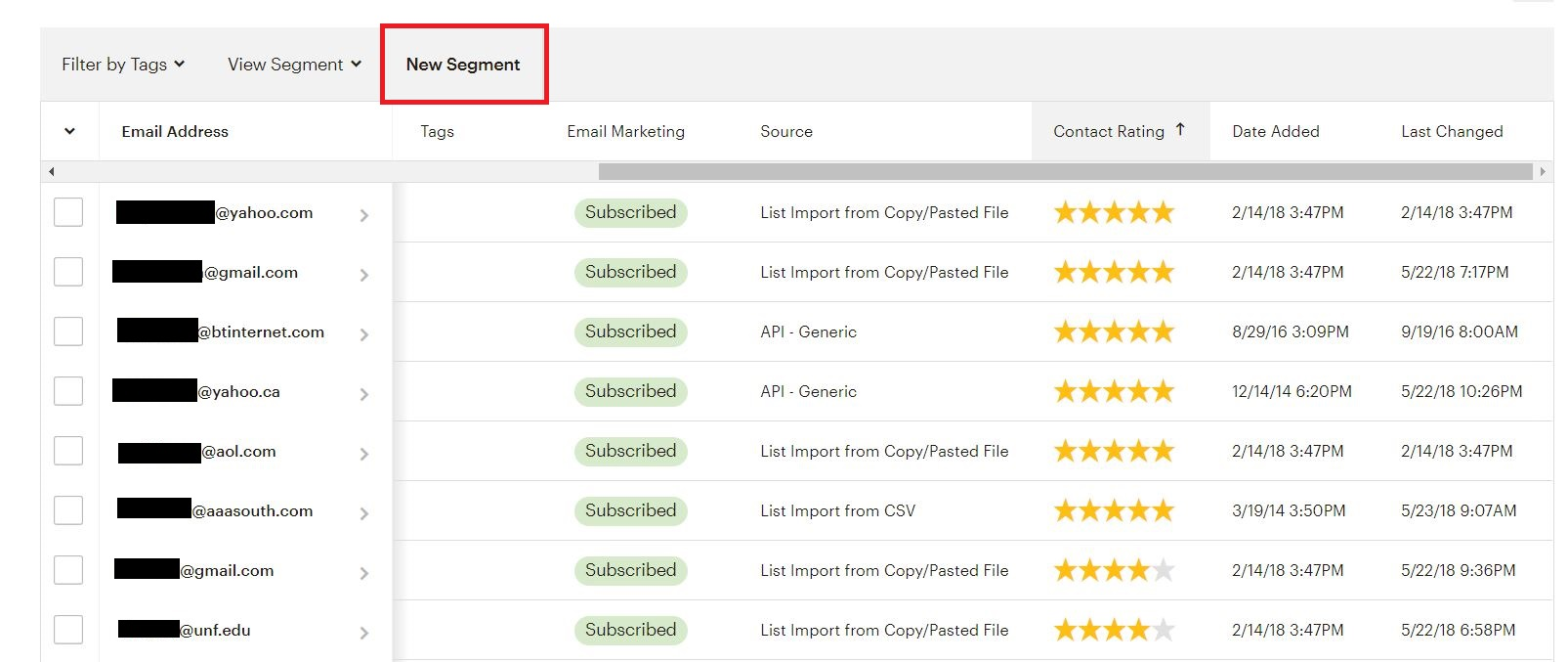 MailChimp New Segment