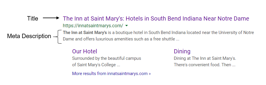 The Inn at Saint Mary's Organic Search Result Screenshot
