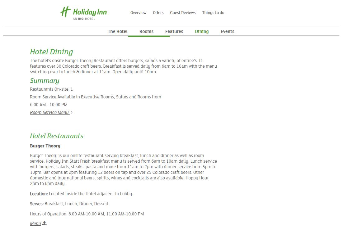 Brand Site Dining Page