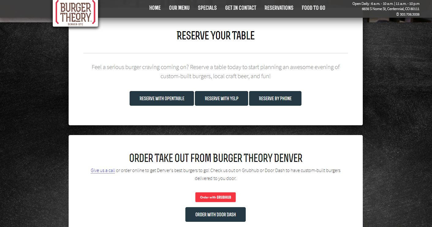 Burger Theory Reservations