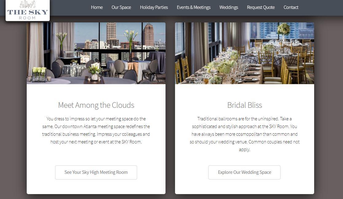 SKY Room Meetings and Weddings