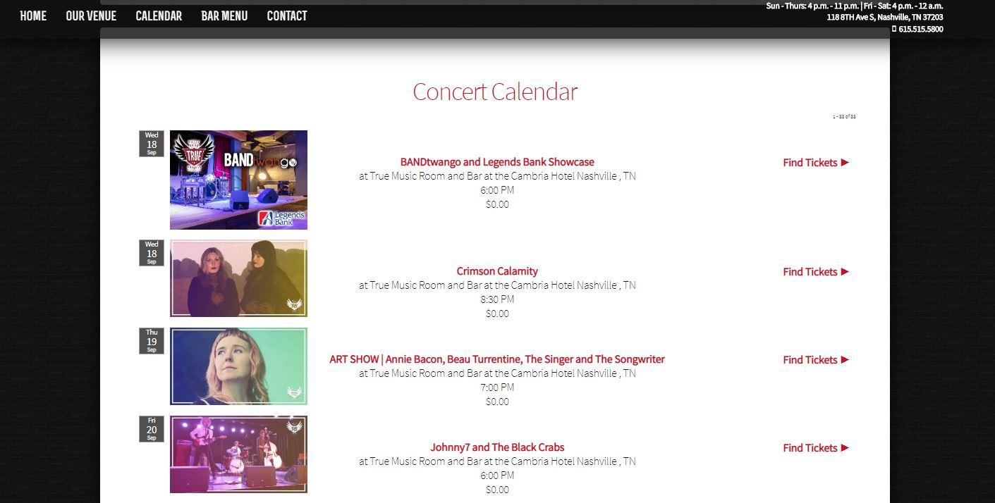 True Music Room Calendar