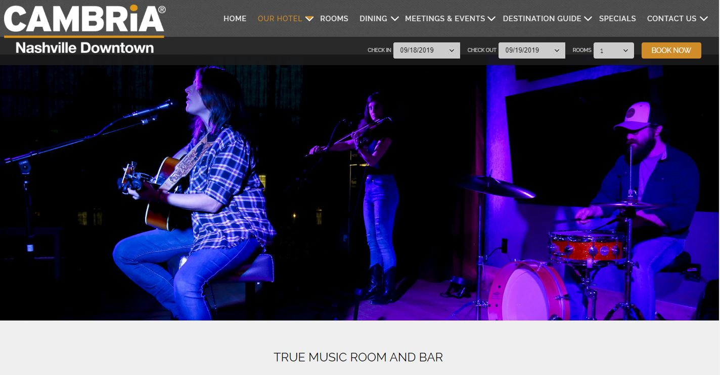 True Music Room Page on Hotel Site