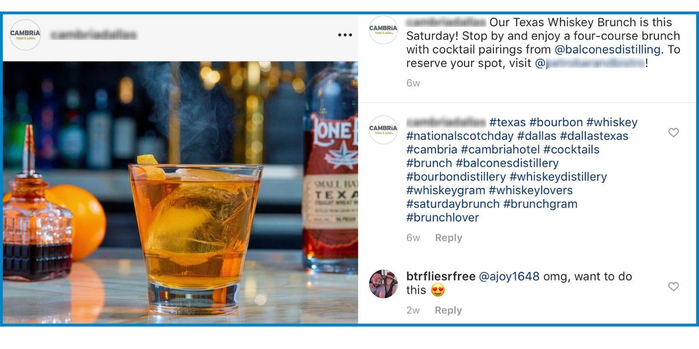 whiskey brunch instagram cambria dallas