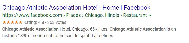 Chicago Athletic Association Facebook Profile Google SERP