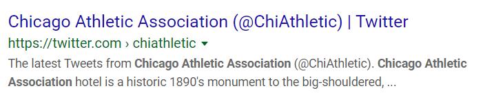 Chicago Athletic Association Twitter Profile Google SERP