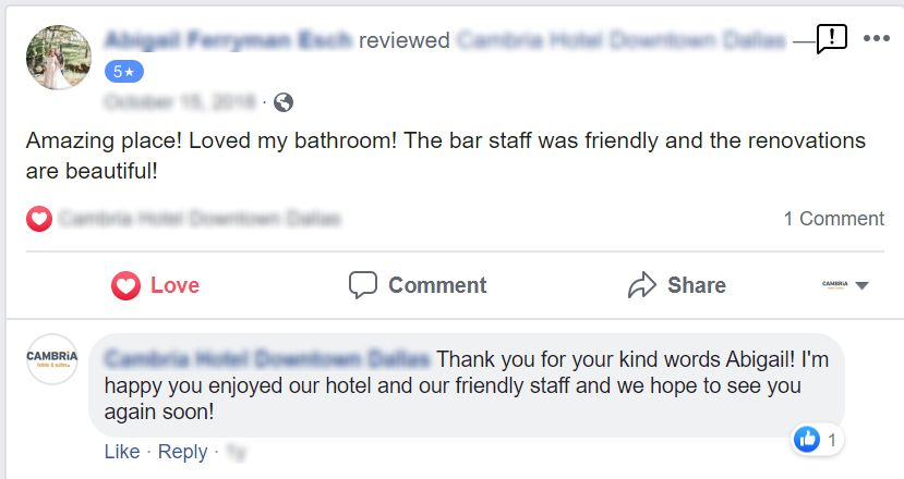 Facebook Review Response