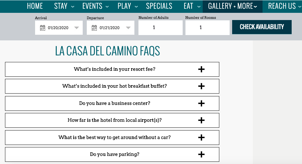 hotel website FAQ page