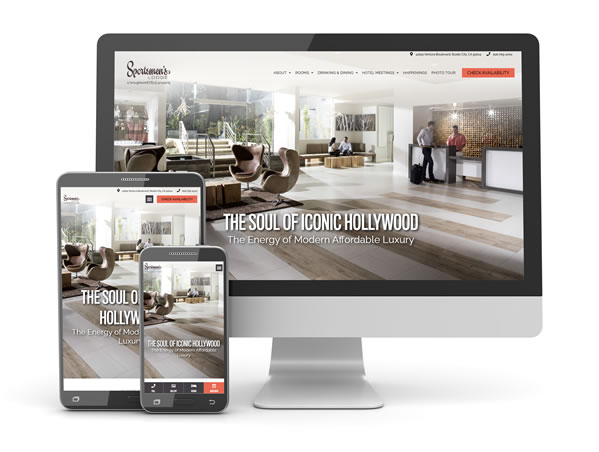 responsive hotel website on desktop, tablet, and mobile phone