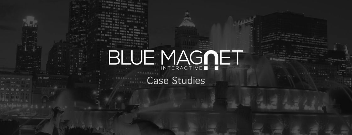 chicago city skyline with buckingham fountain, blue magnet logo and case studies text