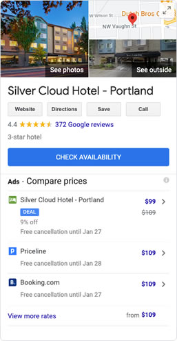 screenshot of Google Hotel Ads metasearch results for a hotel